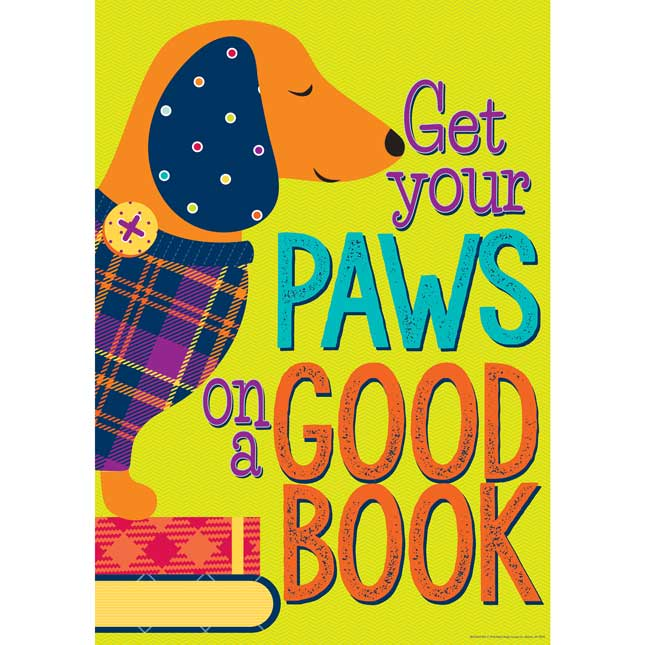 "Plaid Attitude Paws On A Good Book Poster 13"" X 19"""