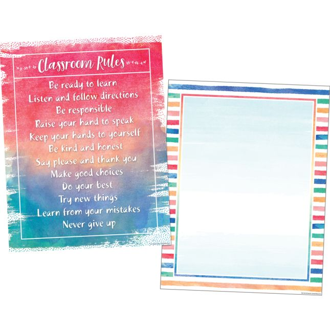 Watercolor Classroom Chart 2-Pack