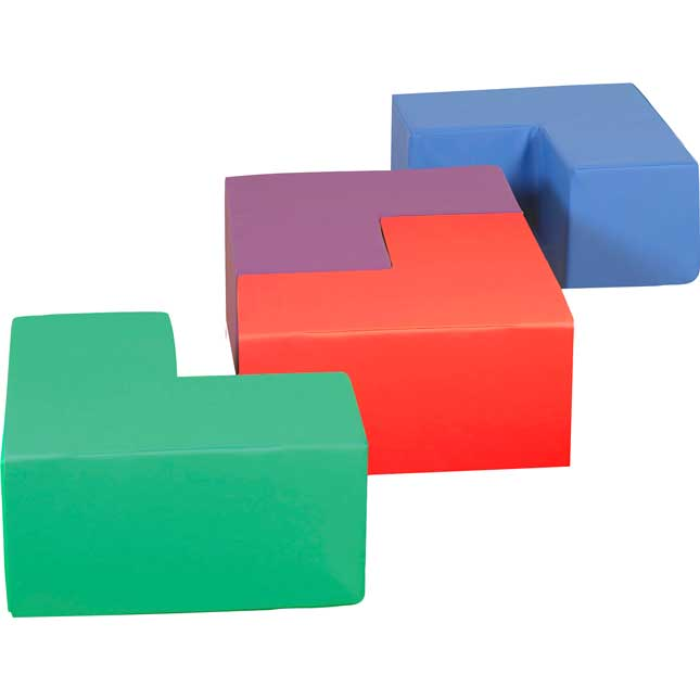 Soft Touch L-Shaped Seating - Set Of 4 - Red, Green, Blue and Purple