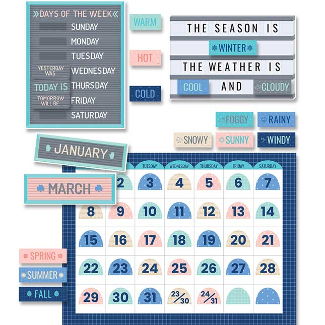 Calm and Cool Calendar Bulletin Board Set
