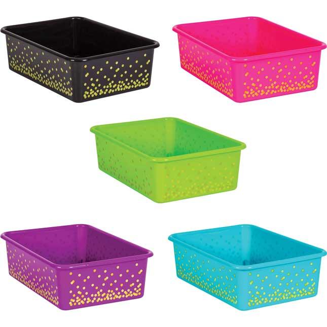 Neon Confetti Large Plastic Storage Bins - 5-Pack