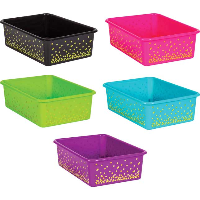 Neon Confetti Large Plastic Storage Bins With Sleeves - 5-Pack
