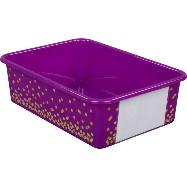 Confetti Large Plastic Storage Bins With Sleeves - Single Color 5-Pack