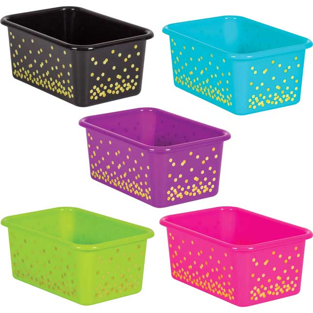 Neon Confetti Small Plastic Storage Bins With Sleeves - 5-Pack