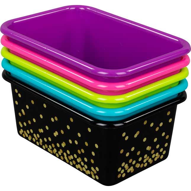 Neon Confetti Small Plastic Storage Bins - 5-Pack
