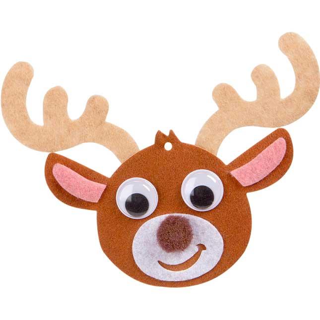 Felt Reindeer Ornament Craft Kit - Set Of 12