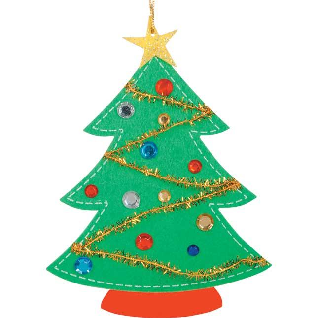 Felt Christmas Tree Ornament Craft Kit - Set Of 12