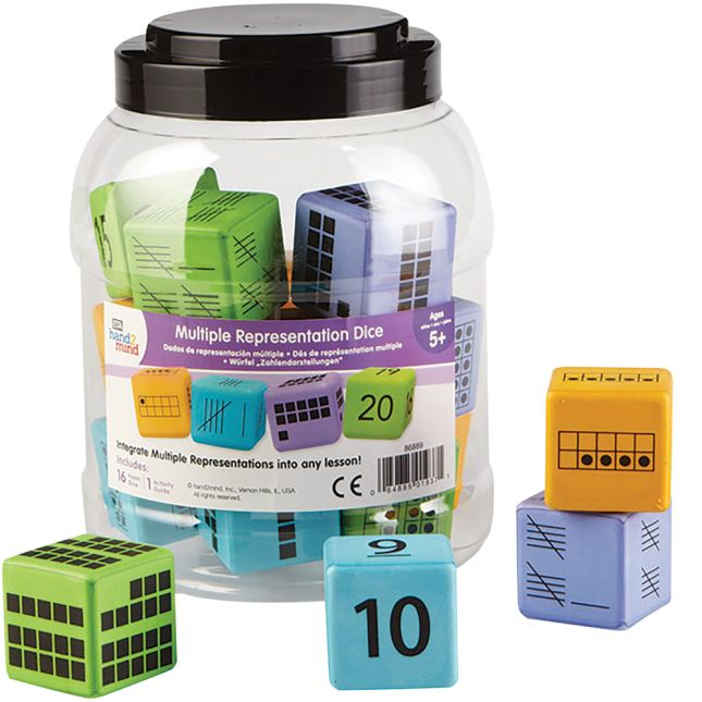 Colorful Foam Number Representation Dice - Set Of 16