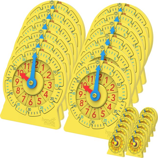 Number Line Clock, Classroom Kit - 24 clocks, 4 activities
