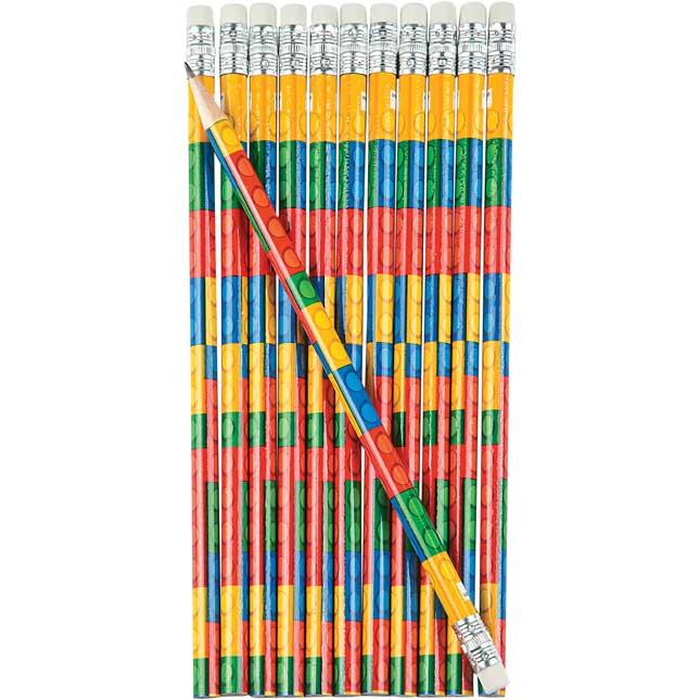 Building Bricks Pencils And Erasers – Set Of 24