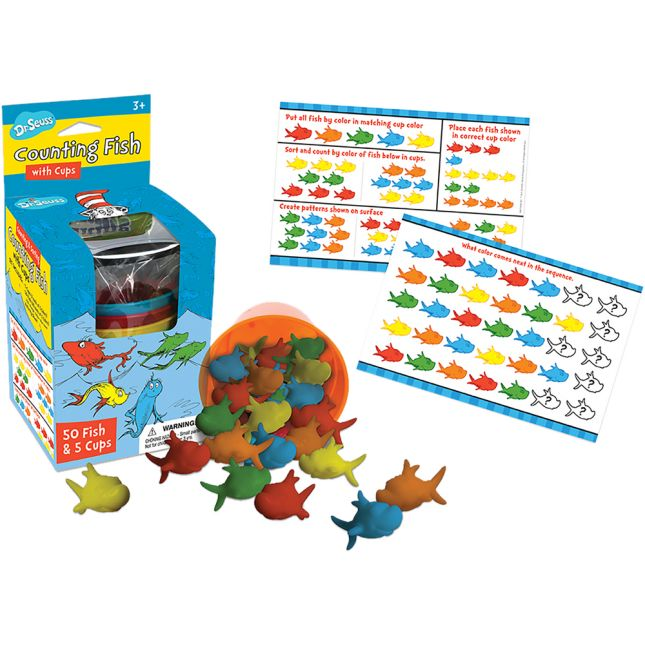 Dr. Seuss™ Counting Fish With Cups - 50 counters, 5 cups