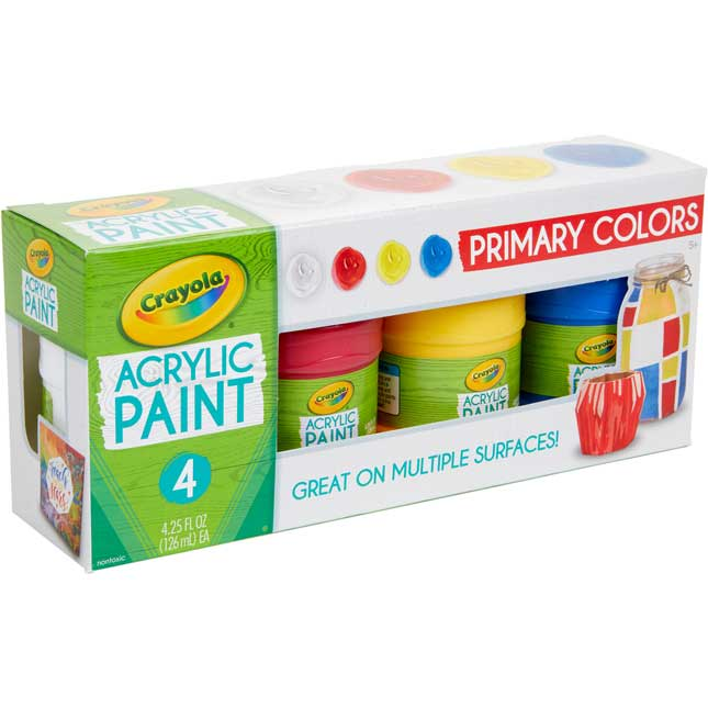 Crayola® Acrylic Paint – Primary Colors – Set Of 4