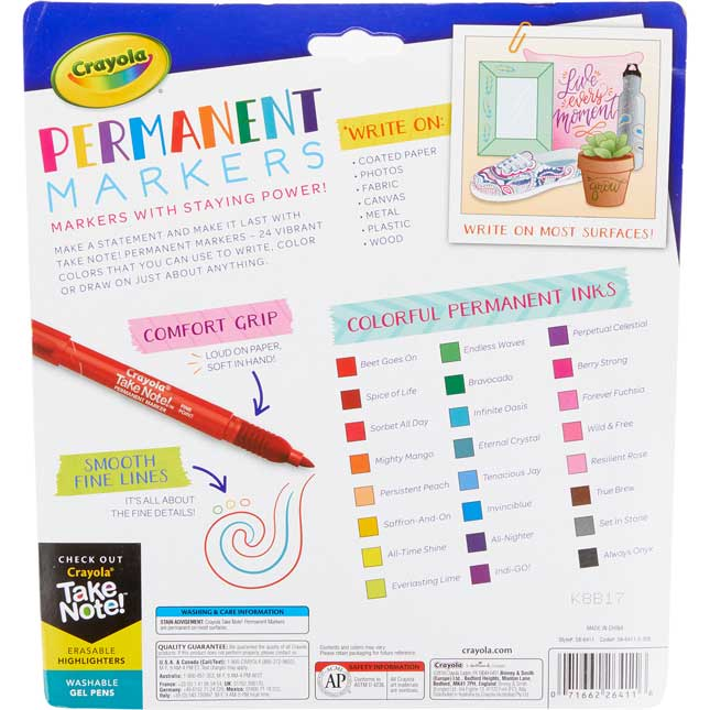 Take Note! Permanent Markers With Comfort Grip – Set Of 24