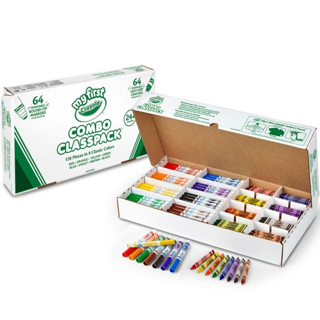 Crayola® Combo Classpack – 64 Washable Markers And Crayons In 8 Classic Colors