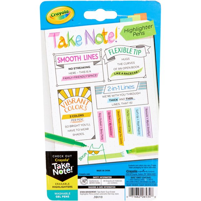 Take Note! 2-in-1 Highlighter Pens – Set Of 6