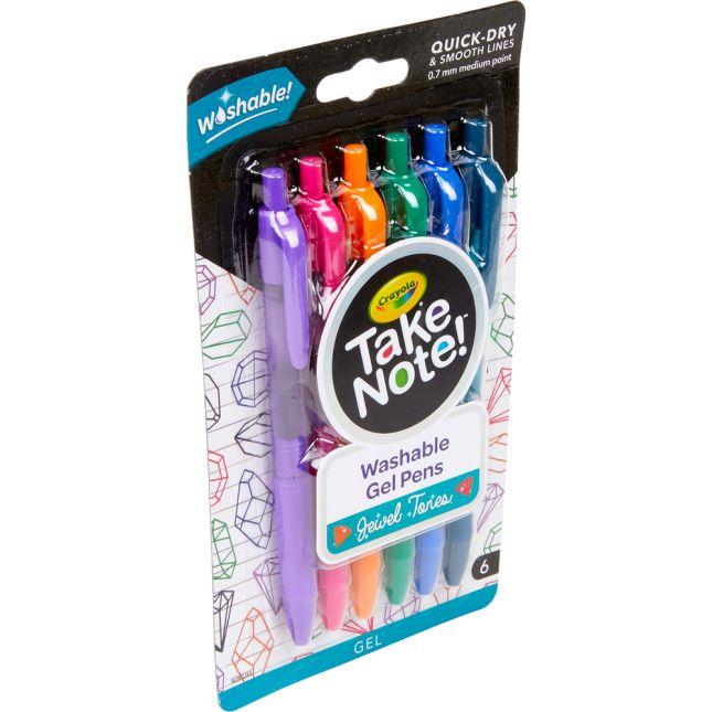 Take Note! Washable Gel Pens  Jewel Tones  Set Of 6