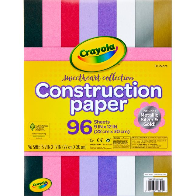 Crayola Sweetheart Collection Construction Paper  96 Sheets - 96 sheets