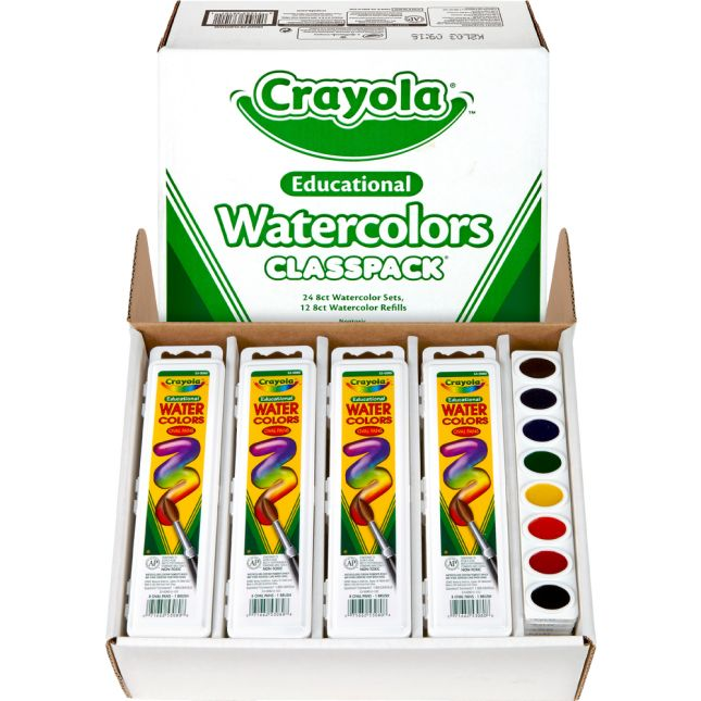 Crayola Educational Watercolors Classpack 8 Assorted Colors