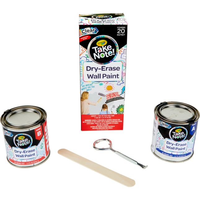 Take Note! Dry Erase Wall Paint  Covers 20 Sq. Feet  Clear