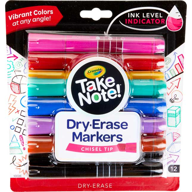 Take Note! Chisel-Tip Dry Erase Markers – Set Of 12