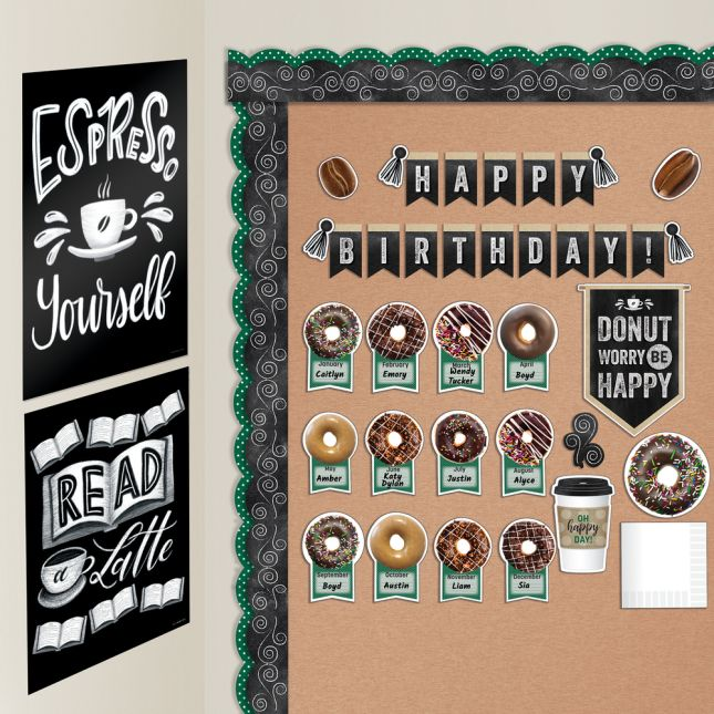 Industrial Café Birthday Bulletin Board Set