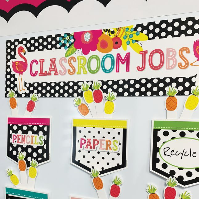 Simply Stylish Tropical Classroom Jobs Bulletin Board Set