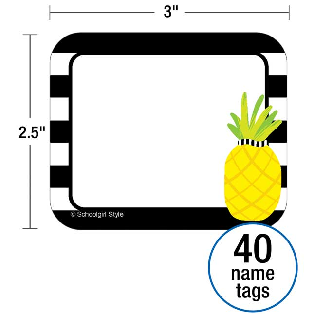 Simply Stylish Tropical Pineapple Stripe Name Tags