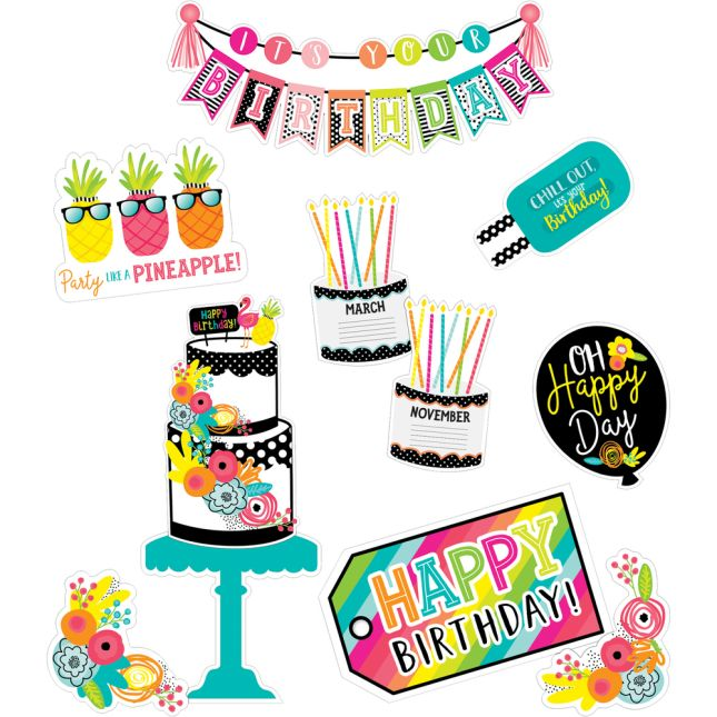 Simply Stylish Tropical Pineapple Birthday Bulletin Board Set