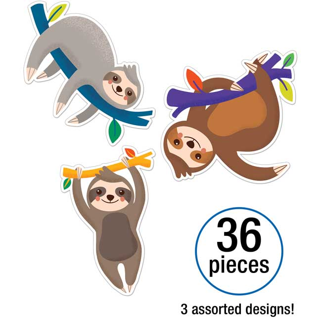 One World Sloth Colorful Cutouts – Assorted
