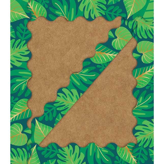 One World Tropical Leaves Scalloped Border