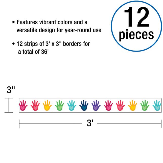 One World Hands With Hearts Straight Border - 1 border trim