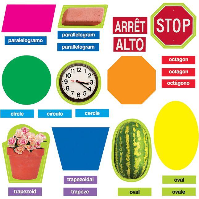 Geometric Shapes (English/Spanish/French) Mini Bulletin Board Set