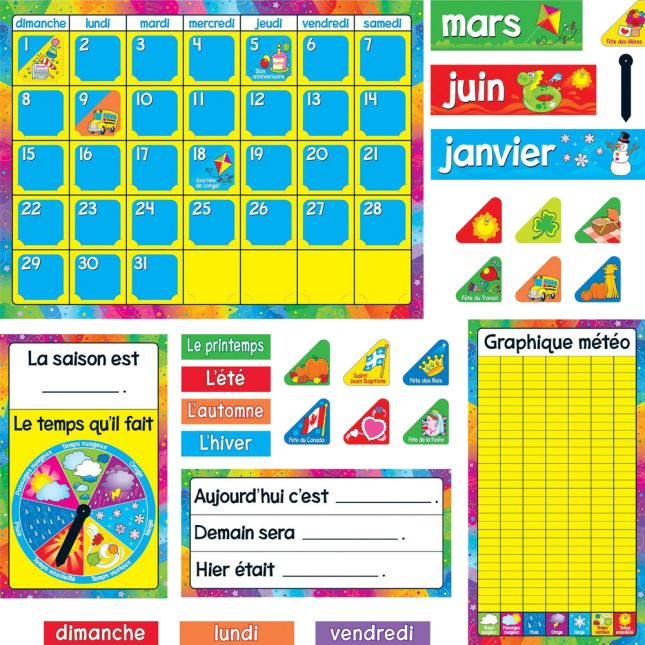 Calendrier Annuel French Bulletin Board Set