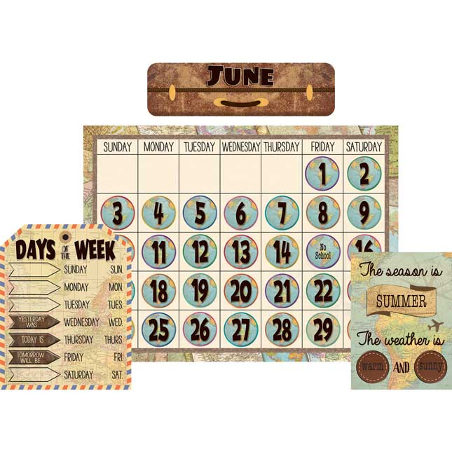 Travel The Map Calendar Bulletin Board Set
