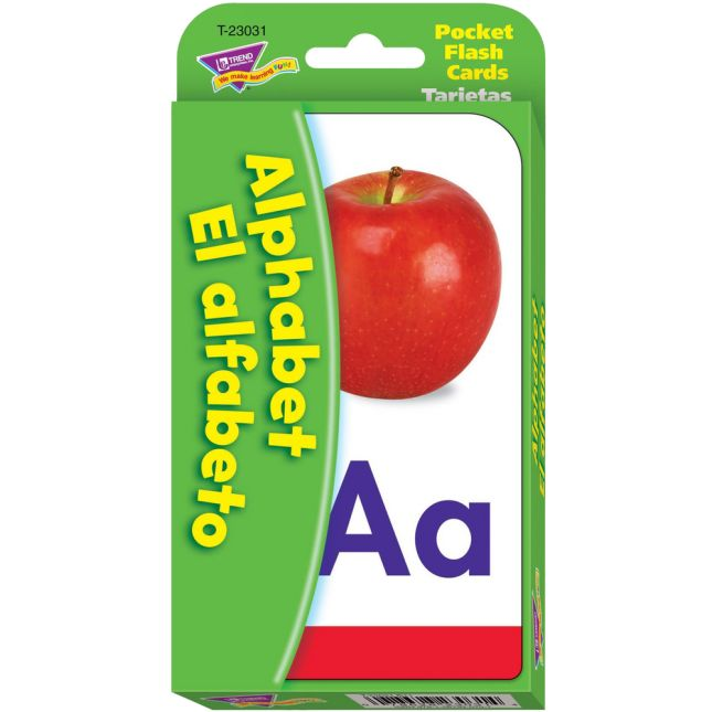Alphabet/El Alfabeto (English/Spanish) Pocket Flash Cards - 56 cards
