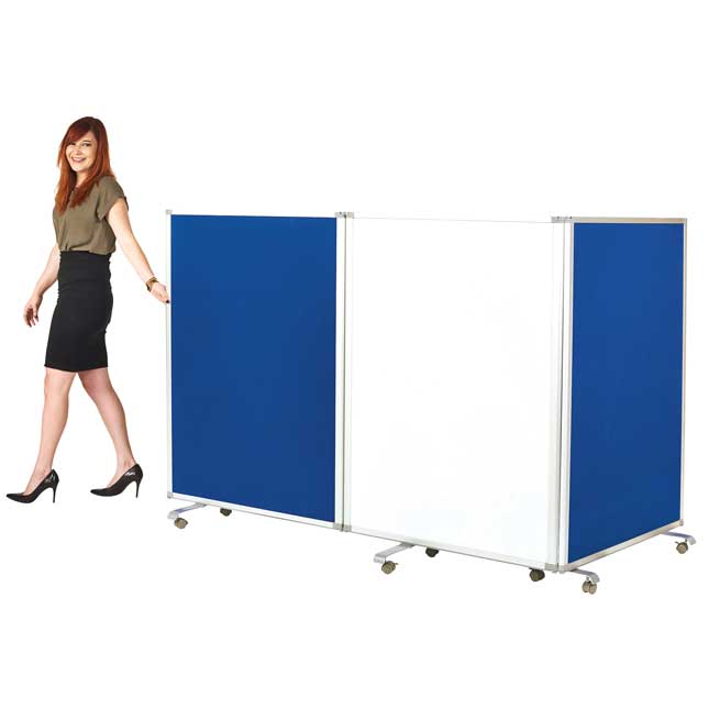 Mobile Double-Sided Whiteboard and Flannel Room Divider - 1 dry erase divider
