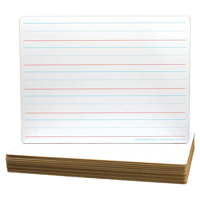 9X12 Double Sided Non Magnetic Primary Lined Dry Erase Boards  12 Pack  Made in the U.S.A