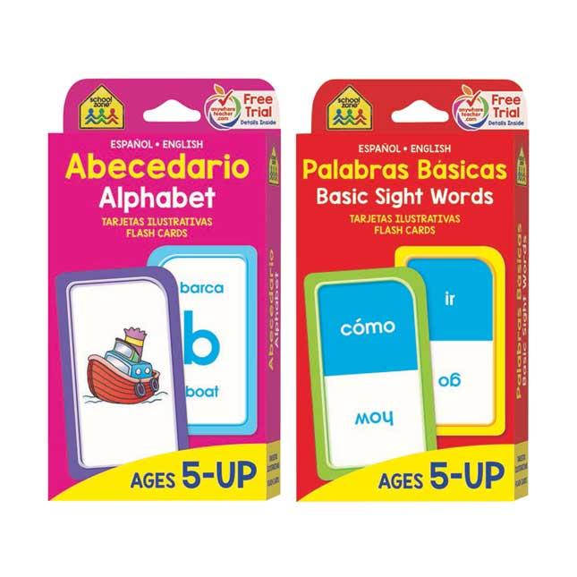 Bilingual ELA Flash Cards Alphabet and Basic Sight Words Tarjetas Ilustrativas Abecedario y Palabras Basicas