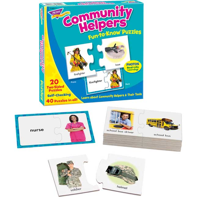 Community Helpers Fun-to-Know Social Studies Puzzles - 20 puzzles