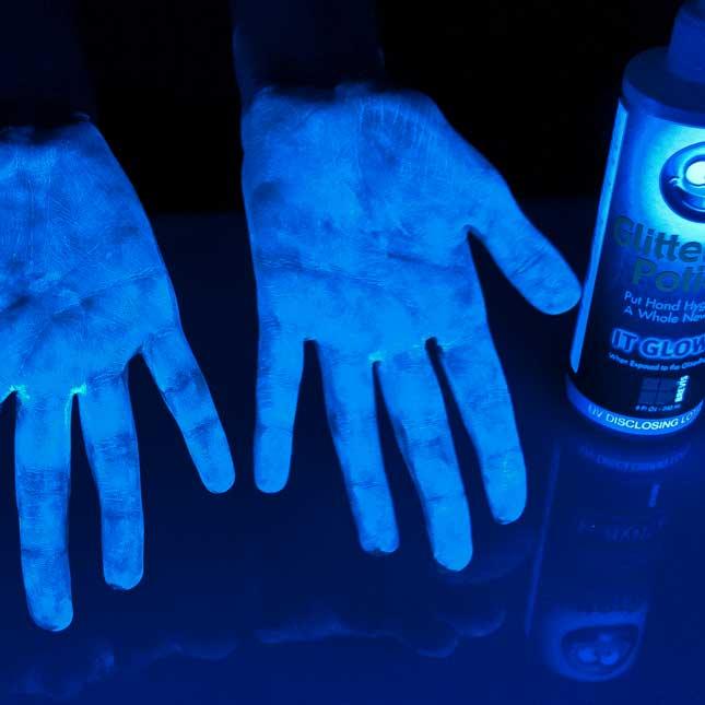Glitter Bug Lotion  Black Light Germ Illuminating Kit - 1 bottle of lotion, 1 black light