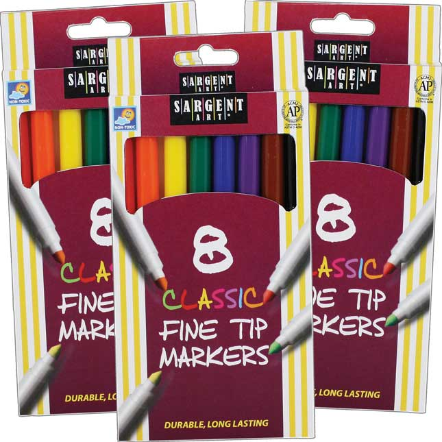 Sargent Art 8-ct. Classic Fine Tip Markers - 3 Boxes