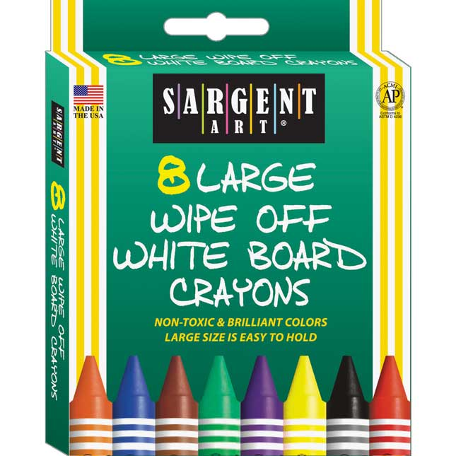 Sargent Art 8ct. Large Wipe-Off White Board Crayons - 6 Boxes