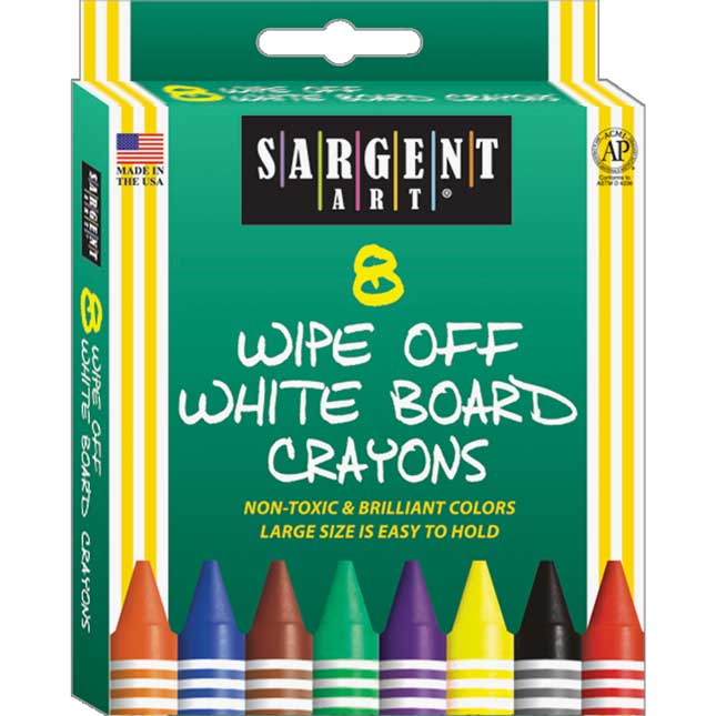 Sargent Art 8ct. Standard Wipe- Off White Board Crayons - 6 Boxes