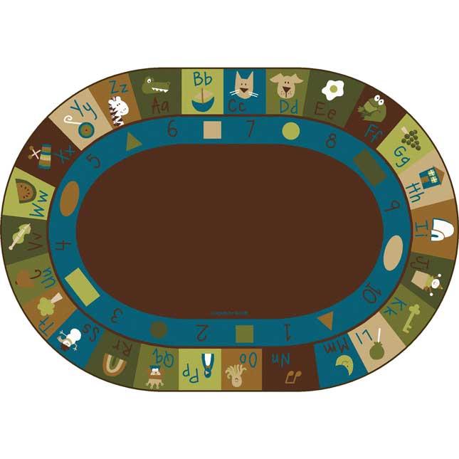 Nature's Colors Learning Blocks Carpets - Oval 6'x 9' - 1 carpet
