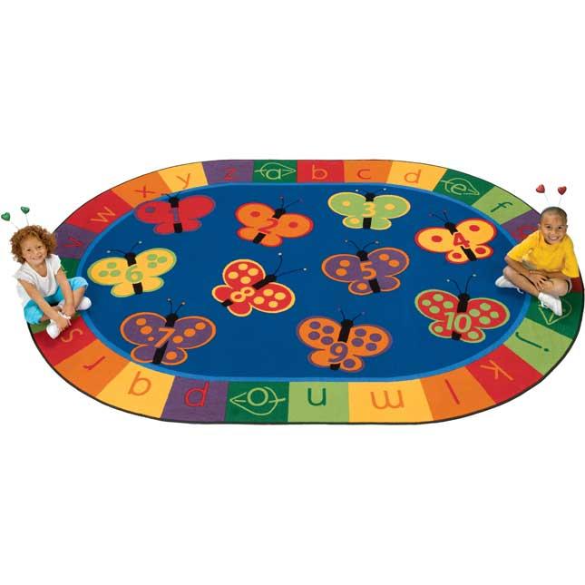 "123 ABC Butterfly Fun Carpets - Oval 3'10""x 5'5"" - 1 carpet"