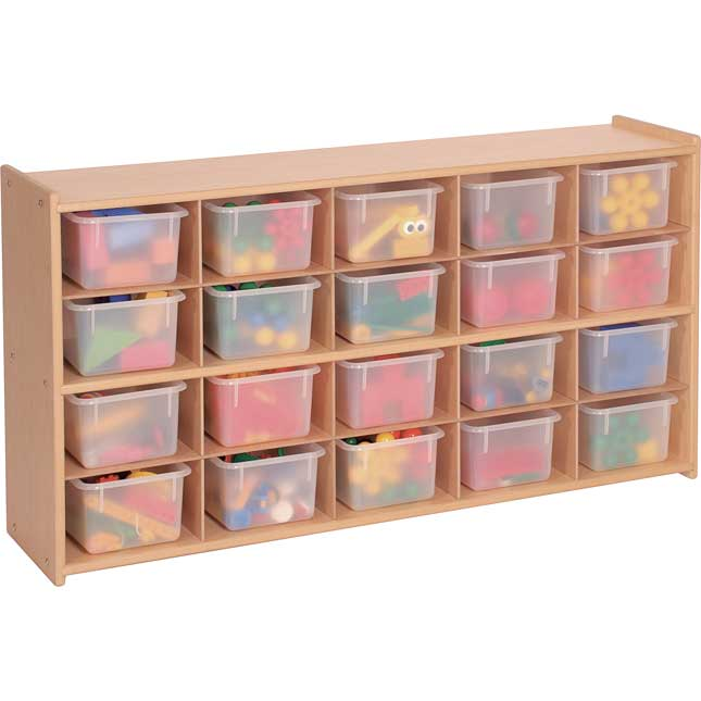 Value Line 20-Tray Cubby Storage With 20 Opaque Trays