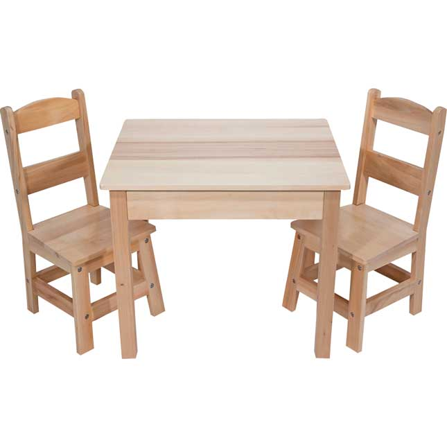 Wooden Table and Chairs - 3-Piece Set