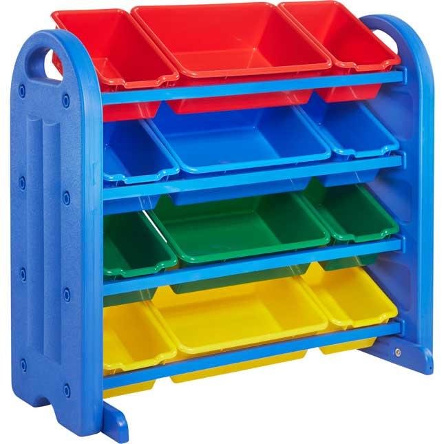 4-Tier Plastic Storage Organizer With Bins - 1 organizer, 12 bins