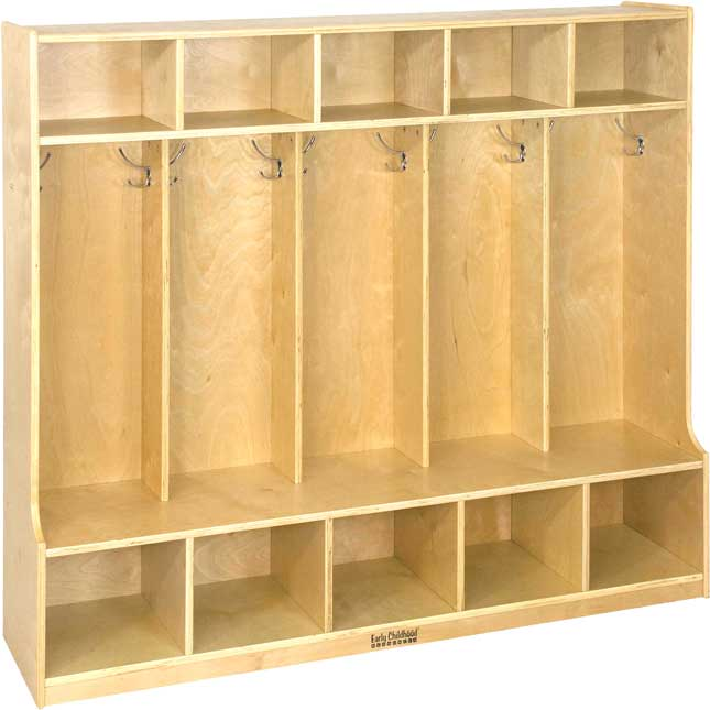 5-Section Birch Coat Locker With Bench