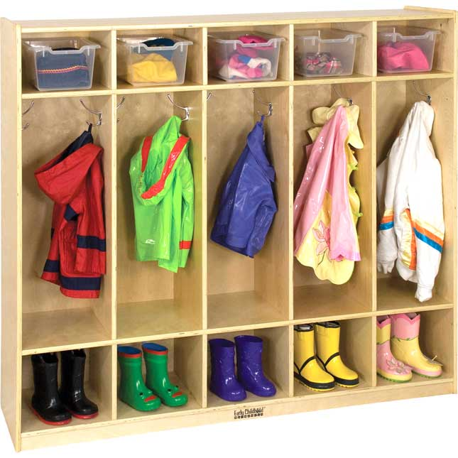5-Section Birch Coat Locker Without Bench